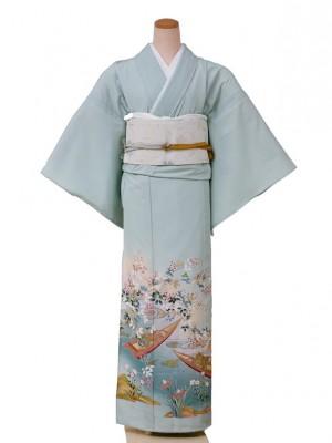 色留袖(夏)5003一つ紋き水色水面に小舟