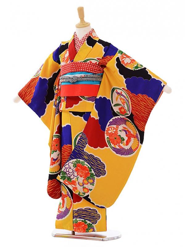 七五三レンタル(7歳袋帯)7481 アンティーク 黄色 雲取丸紋