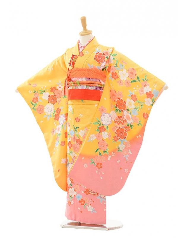 七五三レンタル(7歳女の子結び帯)7248 黄色 裾ピンク桜ま