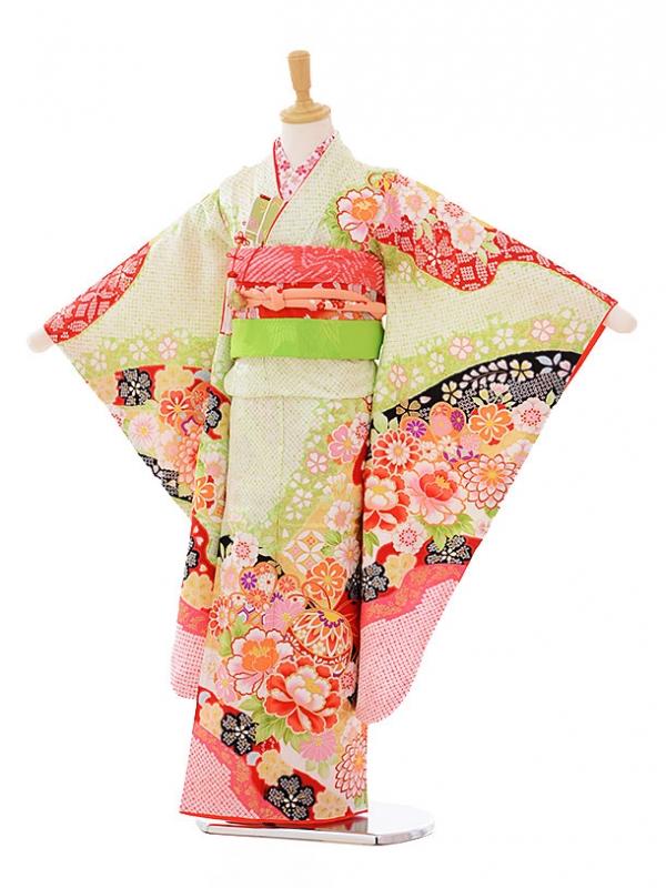 七五三レンタル(7歳女の子袋帯)7332 黄緑 花まり (正絹)