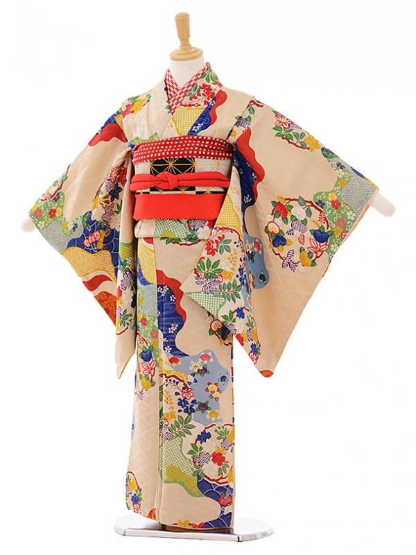 (7歳袋帯・羽織)7480 アンティーク 着物ベージュ橘 羽織赤かのこ