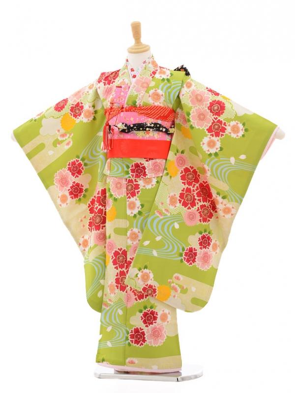 七五三レンタル(7歳女の子結び帯)7160 ひいな 黄緑桜と
