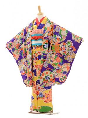 七五三(7歳袋帯・羽織)7212アンティーク着物黄色雲
