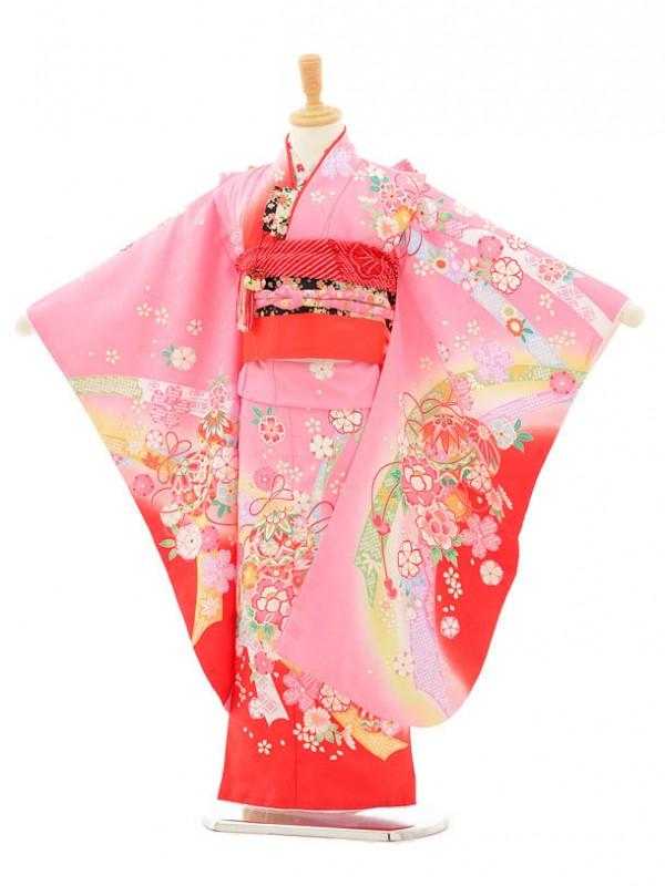 七五三レンタル(7歳女の子結び帯)7152 ピンク花とまり
