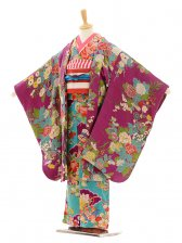 七五三(7歳袋帯・羽織)7210アンティーク着物水色牡