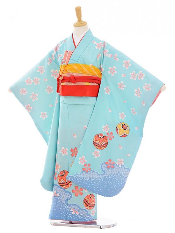 七五三レンタル(7歳女の子結び帯)7386 水色 桜まり