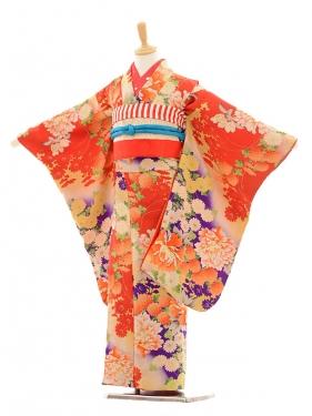 七五三(7歳袋帯)7222アンティーク着物赤牡丹