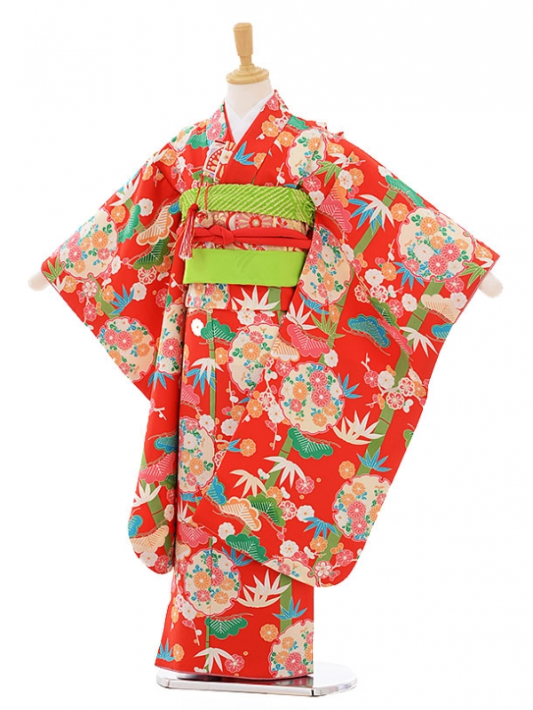 七五三レンタル(7歳女の子結び帯)7475 赤地 雪輪に松竹梅