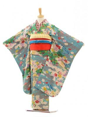 七五三レンタル(7歳袋帯)7205アンティーク着物水色茶