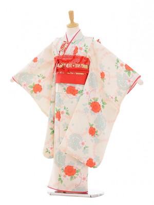 七五三レンタル(7歳女の子結び帯)7352 白地 桜 小花