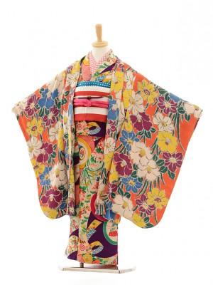 七五三(7歳袋帯・羽織)7203アンティーク着物紫丸紋