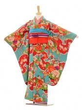 七五三(7歳袋帯)7206アンティーク着物水色花