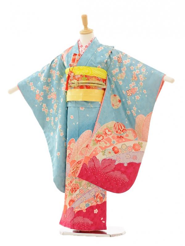 七五三レンタル(7歳女の子結び帯)7238 水色 しだれ桜ま