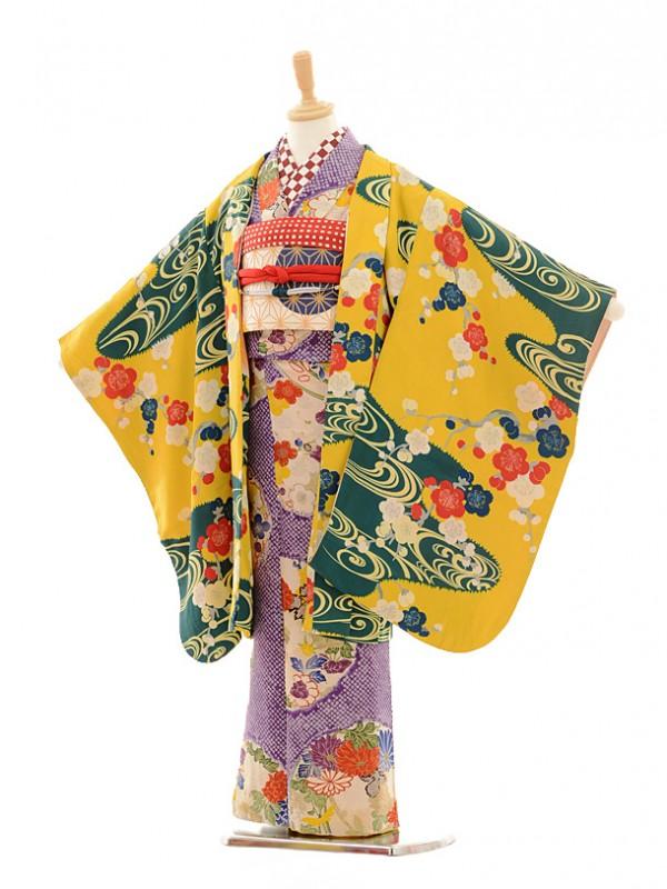 七五三(7歳袋帯・羽織)7225アンティーク着物紫かの