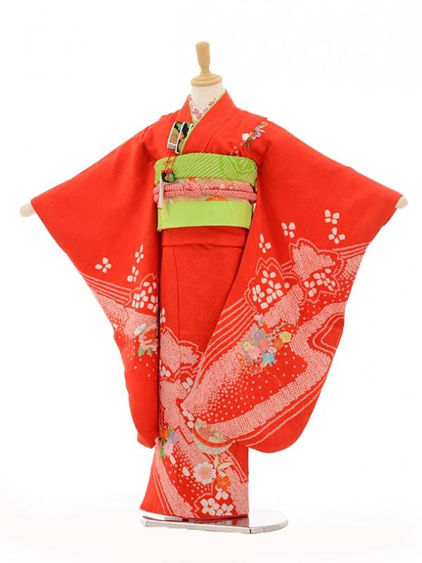 七五三(7歳女袋帯)7264 赤地桶絞り桜流水にまり(正絹)