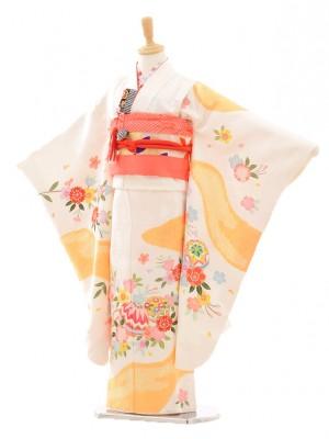 七五三レンタル(7歳女の子袋帯)7183 白地に黄色 桜まり(正絹)