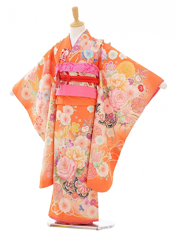 七五三レンタル(7歳女の子結び帯)7412 乙葉 オレンジ花に蝶