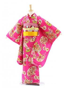 七五三(7歳袋帯)7216アンティーク着物ピンク花