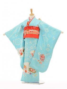 七五三(7歳女袋帯)7265 水色絞りまり花(正
