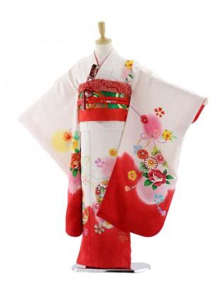 七五三レンタル(7歳女の子袋帯)7568 白地 裾赤 まり (正絹)