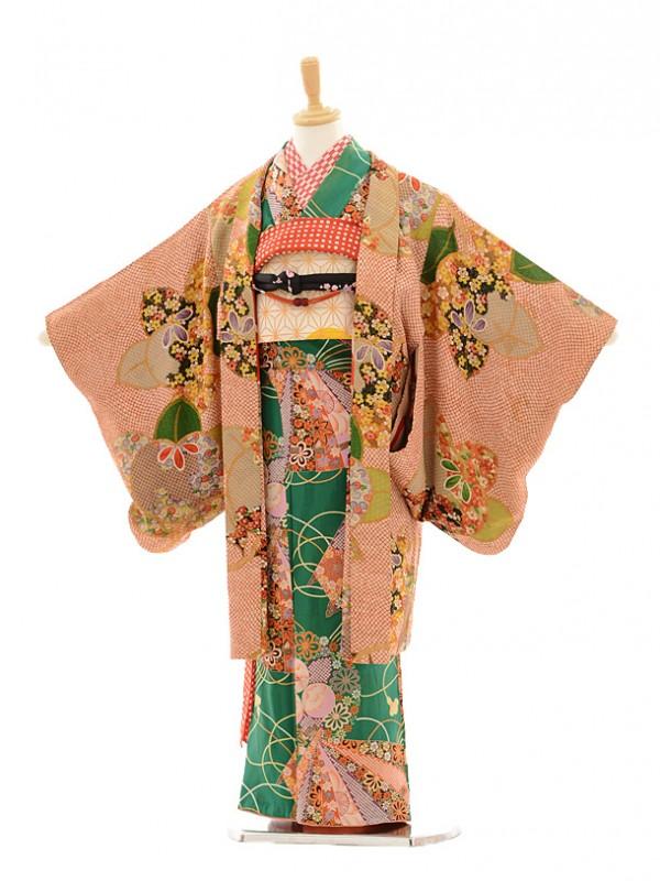 七五三(7歳袋帯・羽織)7224アンティーク着物緑扇面