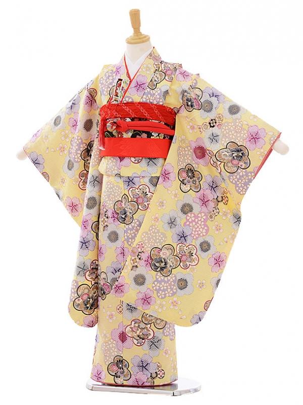 七五三レンタル(7歳女の子結び帯)7472 クリーム色 梅桜