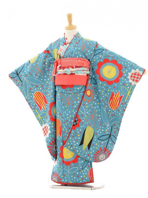 七五三レンタル(7歳女の子結び帯)7148 モダンアンテナ ブルー花