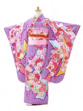 753レンタル(7歳女結び帯)7103パープル桜