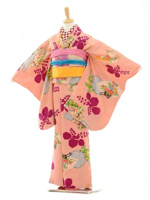 七五三(7歳袋帯)7228アンティーク着物ピンク雪