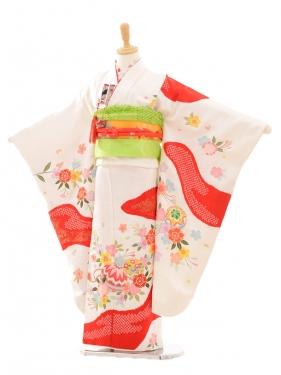 七五三(7歳女袋帯)7182 白地に赤 桜まり(