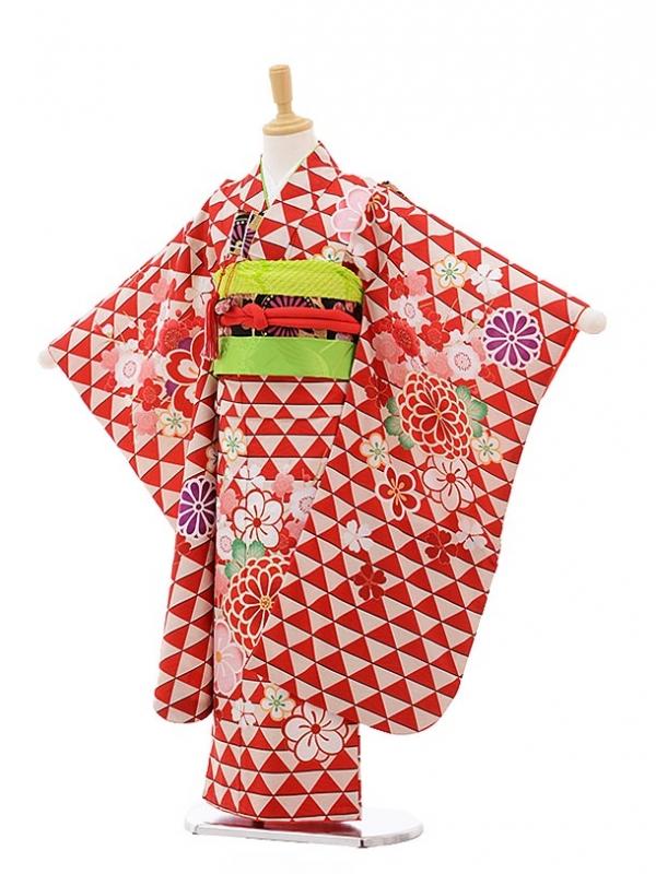 七五三レンタル(7歳女の子結び帯)7531 KAGURA 赤うろこ柄 梅菊