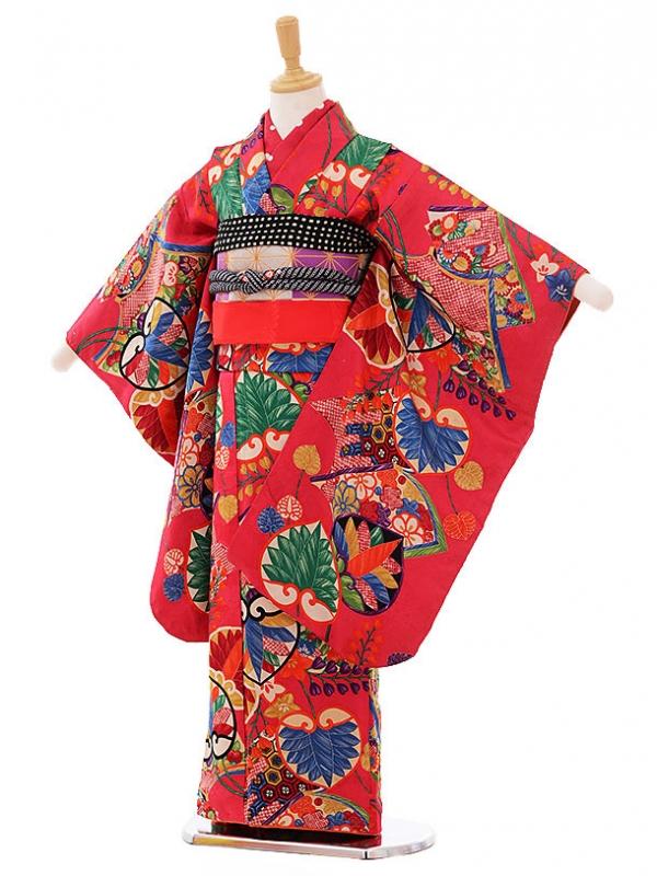 (7歳袋帯・羽織)7479 アンティーク 着物ピンク葉っぱ 羽織黒に橘