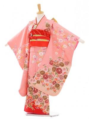 七五三レンタル(7歳女の子結び帯)7392 ピンク地 桜菊