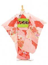 753レンタル(7歳女結び帯)7129 ピンク地 赤花