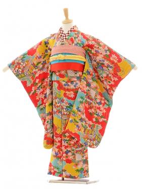 七五三(7歳袋帯)7215アンティーク着物赤四季