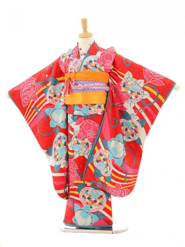 七五三レンタル(7歳女の子結び帯)7149 モダンアンテナ 赤に橘