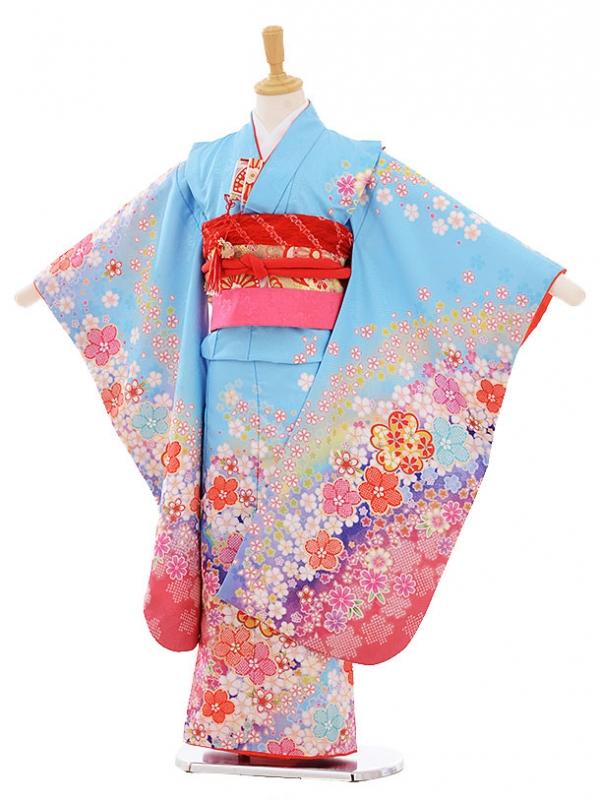 七五三レンタル(7歳女の子結び帯)7378 水色 桜
