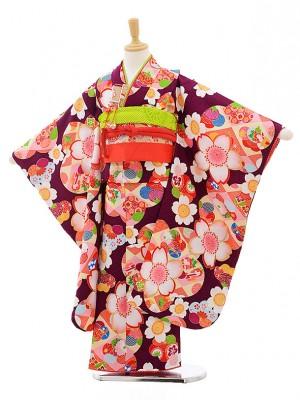 七五三レンタル(7歳女の子結び帯)7559 式部浪漫 パープル地 桜