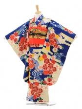 七五三(7歳女結び帯)7159 ひいな 紺桜と波