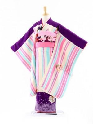 七五三レンタル(7歳女袋帯)7627 正絹 紫地 ストライプまり