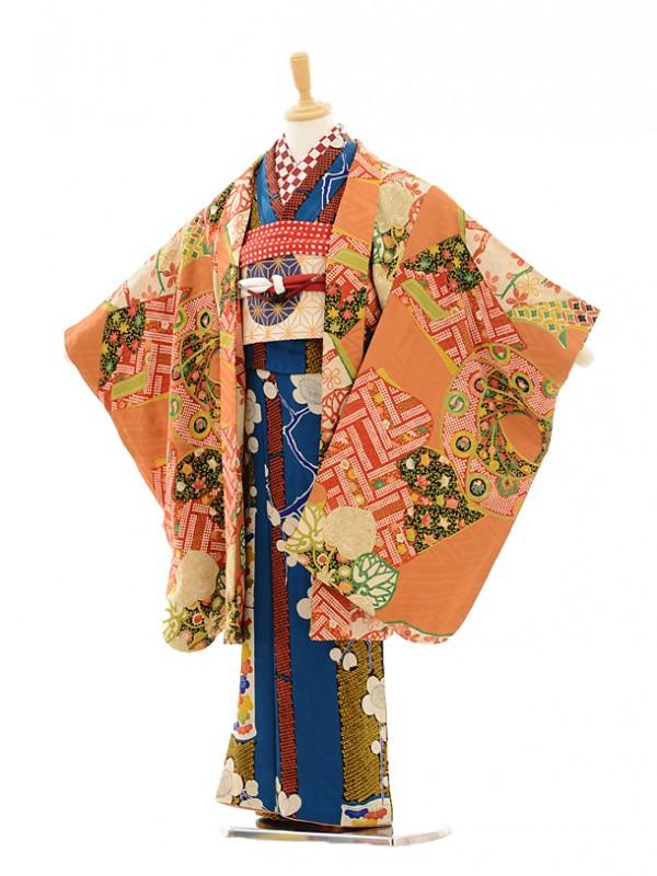 七五三(7歳袋帯・羽織)7223アンティーク着物紺松竹