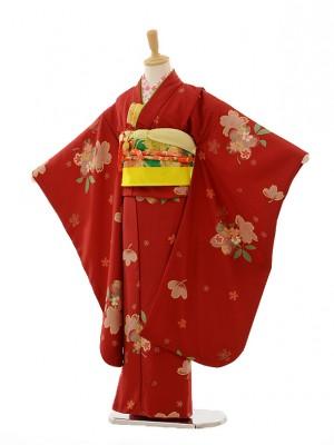 七五三レンタル(7歳女の子結び帯)7244 あずき色 桜
