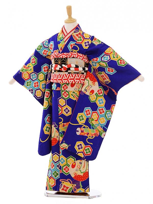 (7歳袋帯・羽織)7476 アンティーク 着物ブルー亀甲 羽織紗綾形