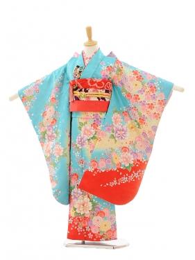 七五三(7歳女結び帯)7251 水色 裾赤 花