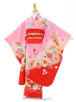 七五三レンタル(7歳女の子結び帯)7440 ピンク地 裾赤 雪輪に花