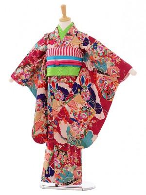 (7歳袋帯・羽織)7482 アンティーク着物ピンク扇まり羽織グリーンピンク