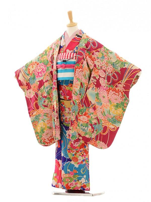 七五三(7歳袋帯・羽織)7219アンティーク着物青紫花