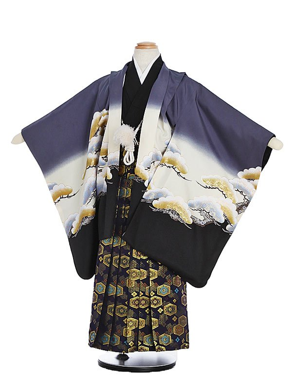 753レンタル(5歳男)5149グレー裾黒かぶと松