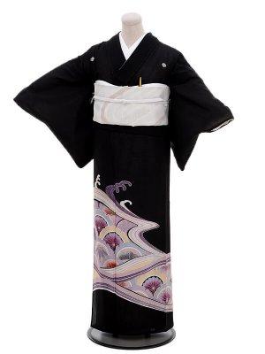夏留袖6080紫波に菊(化繊 絽)