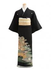 黒留袖レンタル6061平安庭園に鶴